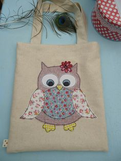 Owl raw edge appliqued free-motion machine embroidery tote bag fully lined, Cath kidston fabrics by julie Filmer from The Peacock Emporium