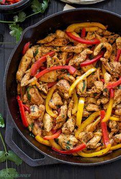 Fajitas de pollo en sartén