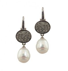 Honora - Sterling Silver 11-12mm Pearl Earrings with Silver Agate Druzy