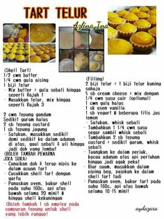 Tart telor Egg Tart, Fruit Tart, Cookie Recipes, Snack Recipes, Dessert Recipes, Snacks, Resep Pastry, Unique Recipes, Sweet Recipes
