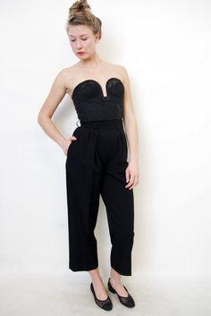 Vintage pants / Yves Saint Laurent black tuxedo trousers / size S