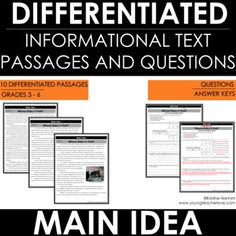 Main Idea And Supporting Details Passages – Reading Comprehension Passages Worksheets Reading Comprehension Passages, Reading Strategies, 5th Grade Classroom, School Classroom, School Library Lessons, Deep Texts, 6th Grade Reading, Teaching Reading, Teaching Ideas