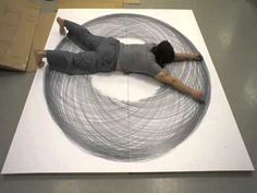 Tony Orrico:1 circle proto  This looks fun.  This would be awesome on my wall.  This would be a killer work out.  I need a very large canvas or paper!