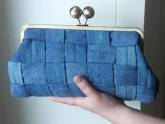 Blue Denim purse, hand bag from recycled jeans, denim clutch, purse with a metal frame, evening bag