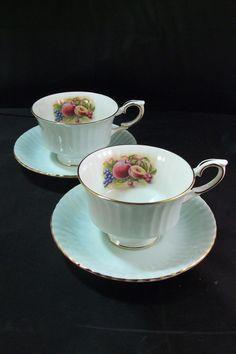 Vintage Royal Standard Bone China Three Fruits Tea Cups and Saucers (2)