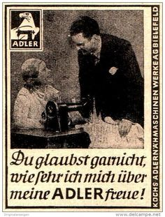 Original-Werbung/ Anzeige 1934 - ADLER NÄHMASCHINE / KOCH - BIELEFELD - ca. 45 x 60 mm