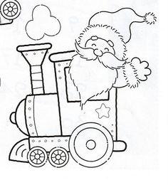 Papá Noel en tren. Dibujo para fieltro
