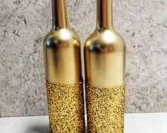 Gold Glitter Wine Bottle Decor with Bow Ties, Wedding Table Decor, Set of Party Table Centerpieces, Black and Gold Centerpieces Black And Gold Centerpieces, Glitter Centerpieces, Wine Bottle Centerpieces, Party Table Centerpieces, Gold Party Decorations, Decoration Table, Homemade Centerpieces, Glitter Wine Bottles, Wooden Wedding Guest Book