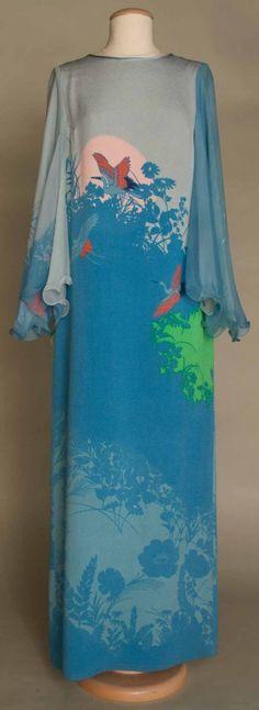 Hanae Mori Evening Gown, ca. Fashion Moda, 70s Fashion, Vintage Fashion, Hippy Chic, Clothing And Textile, African Fashion Dresses, Vintage Glamour, Silk Crepe, Fashion Fabric