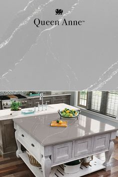A velvety gray-marbled background in our Queen Anne design provides a calm canvas for elegant white streams that intertwine, creating stunning movement and depth for gray kitchen countertops. Quartz countertops from Cambria are stronger than marble or granite, and maintenance free. #MyCambria