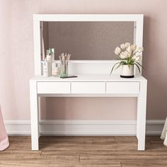 Makeup Vanity Set, Vanity Set With Mirror, Makeup Vanities, Vanity Decor, Dressing Table Set, Under The Table, Storage Spaces, Furniture, Drawers