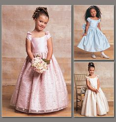 I adore these cap sleeves.  Children's / Girls' Lined, Evening Or Lower Calf Length Dress
