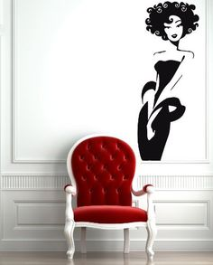 Wall Stickers Vinyl Decal Sexy Afro Classy Woman Beauty Salon Spa Decor For Living Room Bird Wall Decals, Kids Room Wall Decals, Mural Wall Art, Wall Stickers Murals, Vinyl Wall Decals, Wall Art Decor, Diy Bedroom Decor, Living Room Decor, Wall Stenciling