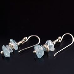 Aquamarine Gemstone and Sterling Silver Earrings by NakedJewelry,