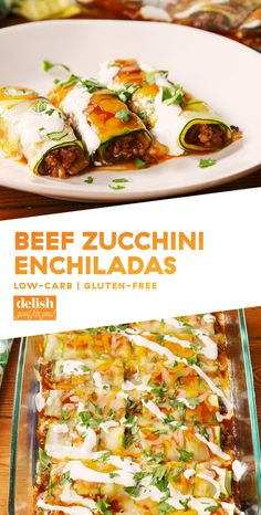 Low Carb Beef Zucchini Enchiladas You Can Feel Good AboutDelish Mexican Food Recipes, Beef Recipes, Low Carb Recipes, Cooking Recipes, Healthy Recipes, Dinner Recipes, Mexican Desserts, Freezer Recipes, Freezer Cooking