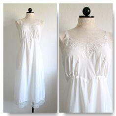 Corette Vintage White Nylon Crepe Lingerie Slip Size 40 Tall by VintageHagClothing, $20.00