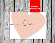 "Card Love Valentine's Day Printable, 8x6""; 3,75x3,75"", Instant Download  Valentine love Art Print  Heart Print Valentine Printable Card"