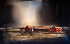 Bilderesultat for Lars Lerin Watercolor Architecture, Watercolor Landscape, Watercolor And Ink, Abstract Landscape, Art And Architecture, Watercolor Paintings, Watercolours, Night Scenery, Scandinavian Art