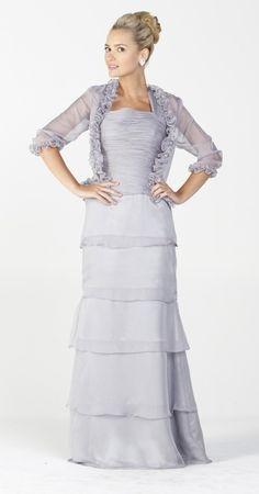 a63a40119fc Long Modest Formal Dress Gray Ruffles Bolero Jacket Layered Skirt  147.99 Modest  Black Dress