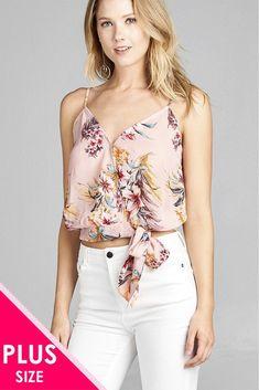5ce55b4d2b3 Ladies fashion plus size v-neck wrap waist self tie floral print woven cami  top