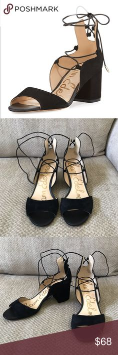 "12fed42f54e953 Sam Edelman Black Serene Suede Lace-Up Sandal Heel Sam Edelman Black Serene  Suede Lace-Up Sandal Heel Size 8 2.5"" covered block heel. Open toe."
