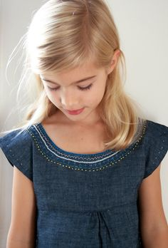 Molly's Sketchbook: Embroidered Denim Jumper - The Purl Bee - Knitting Crochet Sewing Embroidery Crafts Patterns and Ideas!