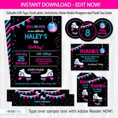 Roller Skating Party Invitations - Roller Skating Invitations - Roller Skating Party Favors  - INSTANT DOWNLOAD - Edit Now! Arctic Party