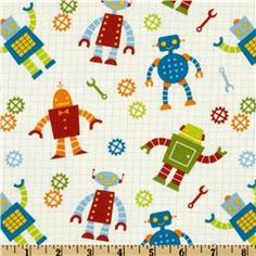 Fabric to tie together the Robot theme and the jewel tone boy nursery theme.    Robot Factory Organic Robot Allover Multi