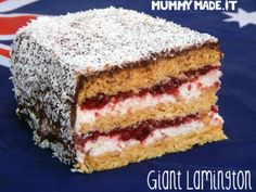 Giant Lamington | http://mummymade.it/2015/01/giant-lamington.html Gluten Free, Paleo, Australia Day