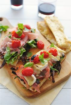 Toasted Ciabatta Sammies with Caramelized Onions, Arugula, Prosciutto and Brie / Bev Cooks