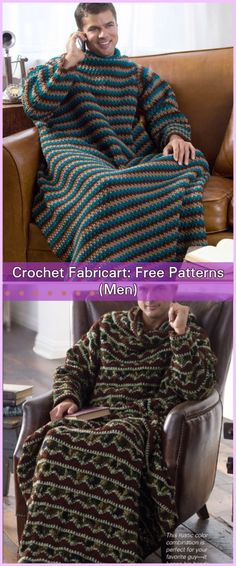 Crochet Afghan Patterns Crochet Men Stripe Snuggle Up Blankets With Sleeves Free Patterns - Crochet Snuggle Up Afghan Blankets With Sleeves Free Patterns (Adults) Crochet Men, Manta Crochet, Crochet Gifts, Cute Crochet, Crochet Baby, Crochet Ideas, Funny Crochet, Afghan Crochet Patterns, Baby Knitting Patterns