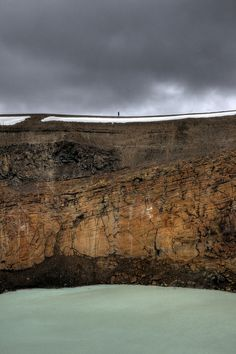 Walking on a crater edge - Iceland