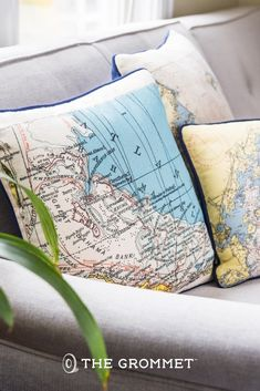 Bring the beach home with these custom nautical pillows! Special places beautifully accent your home in this customized map pillow. Your personal, memorable location is made into an image—culled from nautical charts and topographical maps—and then printed with a water-based ink onto a durable, cotton canvas pillow.