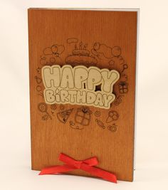 Real Wood happy birthday Card - Gift for him boyfriend men women her girlfriend