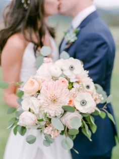 Chrysanthemum, peony, anemone, and eucalyptus wedding bouquet: http://www.stylemepretty.com/colorado-weddings/tabernash/2016/10/10/rustic-glamour-pastel-outdoor-ranch-wedding/ Photography: Connie Whitlock - http://conniewhitlockphoto.com/