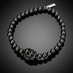 Lazaro SoHo jewelry Small Black Onyx & Jet Skull Men's Bracelet www.lazarosoho.com