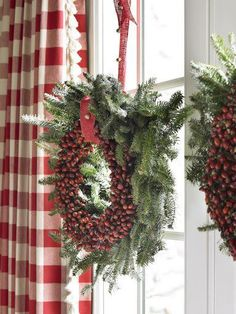 love the berry wreaths with gingham