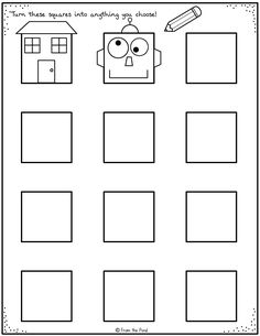 Get kids thinking creatively and drawing with our fun printable activity pages. This is one of 20 projects in the pack for sale in our store. Art Classroom, Classroom Activities, Drawing For Kids, Art For Kids, Kindergarten Art Projects, Drawing Activities, Art Worksheets, History Teachers, Creative Thinking