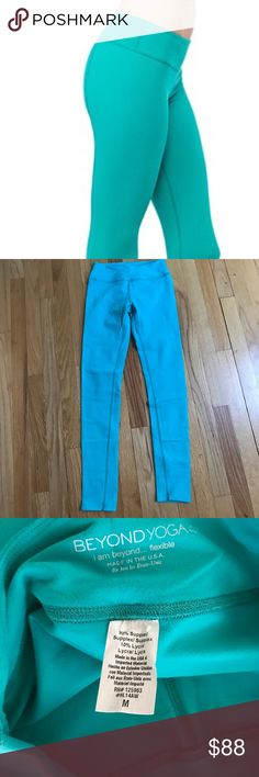 Beyond yoga leggings M Color is close to the stock photo and the close up photo. Somewhere between blue and green. Worn only a couple of times and in excellent used condition. Slight fuzziness due to the nature of the material but no stains or defects. Very soft and comfy! Beyond Yoga Pants