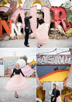 Neon Museum Las Vegas Engagement Session | KMH Photography