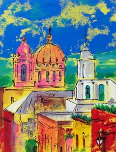 Painting by Cristiana Marinescu of Cristi Fer Art Studio and Workshops,  Donated to Ventanas de Oportunidad education fund project in San Miguel de Allende, supporting  orphans in San Miguel receive advanced education makes all the difference for their future.