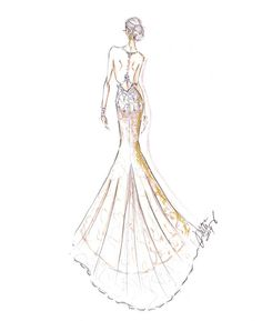 Alvina Valenta - Fall 2014 Collection Sketch. Ivory french corded lace. Jeweled bodice and straps with low back