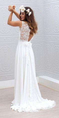 Boho beach wedding dress with open back