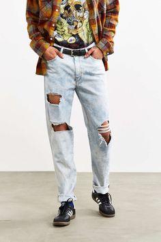 BDG Destroyed Chalk Wash Slim Jean - Urban Outfitters