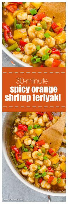 30-Minute Spicy Orange Shrimp Teriyaki is succulent shrimp and veggies in a spicy, sweet orange teriyaki sauce! @FlavortheMoment