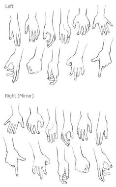 drawing hands. left and right.