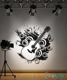 Vinyl Wall Decal Sticker Inspired Guitar from StickerBrand. Saved to Music. Wall Decal Sticker, Wall Stickers, Guitar Wall, Art Drawings For Kids, Music Wall, Paint Designs, Textured Walls, Wall Colors, Decoration