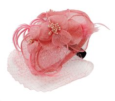 Charisma Sinamay Fascinator Cocktail Hat with Headband and Netting (Pink) at Amazon Women's Clothing store: