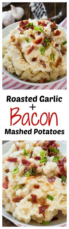 Roasted Garlic & Bacon Mashed Potatoes _ These have heightened flavor from roasted garlic & bacon! | Spicy Southern Kitchen