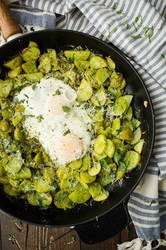 Egg Pesto Potato Skillet | http://naturallyella.com